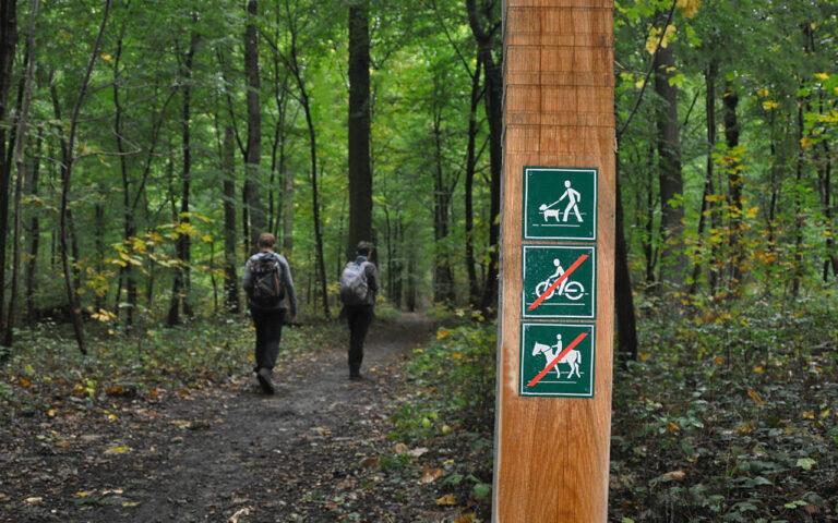 Geen fietsers of ruiters op wandelpaden