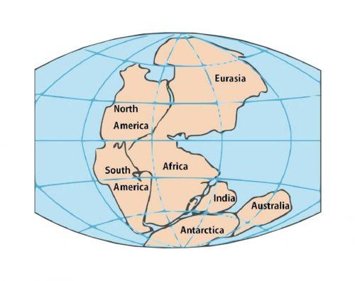 Pangaea: tectonische platen drijven uit elkaar